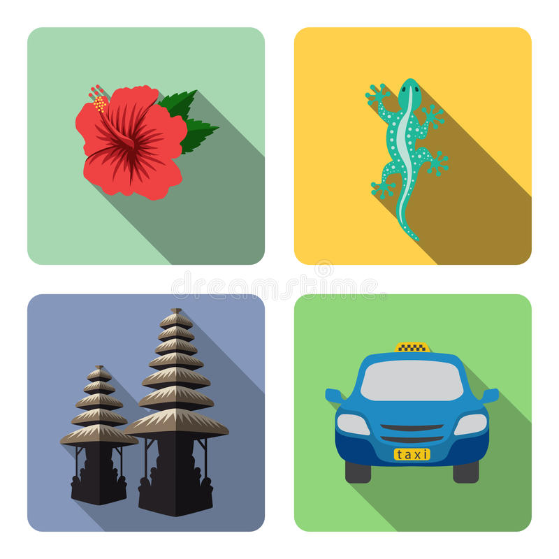 Bali. Set of flat icons. stock illustration