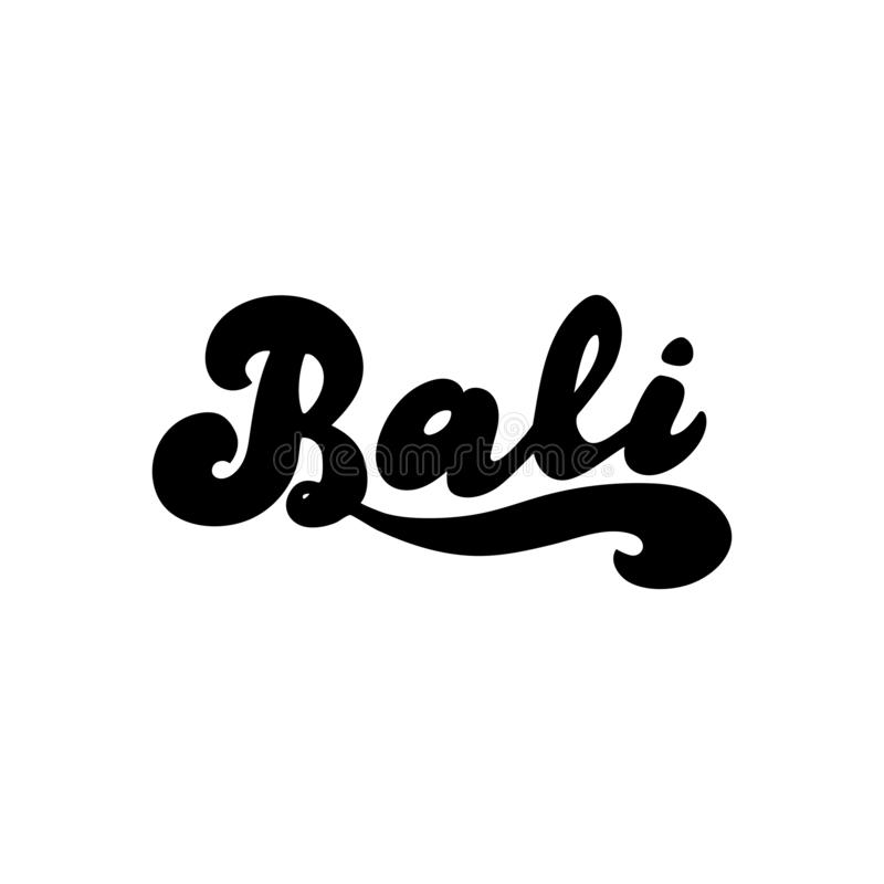 Bali simple hand drawn logo. Indonesia tourism text for website banner. Print for cup, bag, postcard, magnet. vector illustration