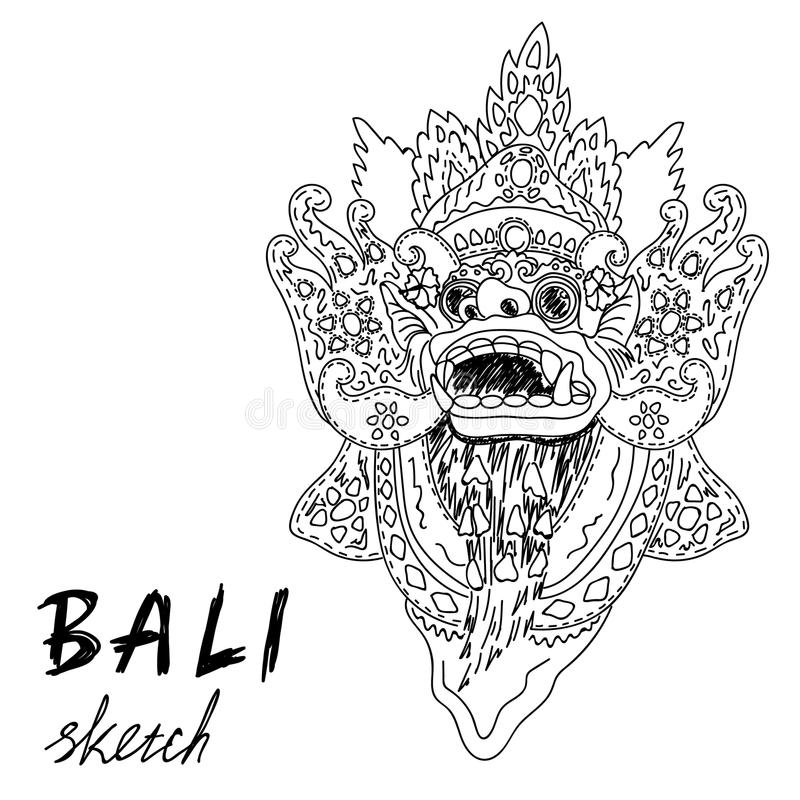 Bali sketch. Barong - balinese god. Traditional culture. royalty free illustration