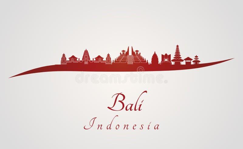 Bali skyline in red stock illustration