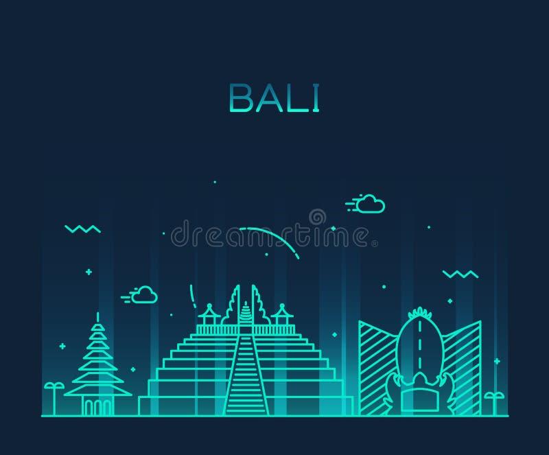 Bali skyline trendy vector illustration linear royalty free illustration