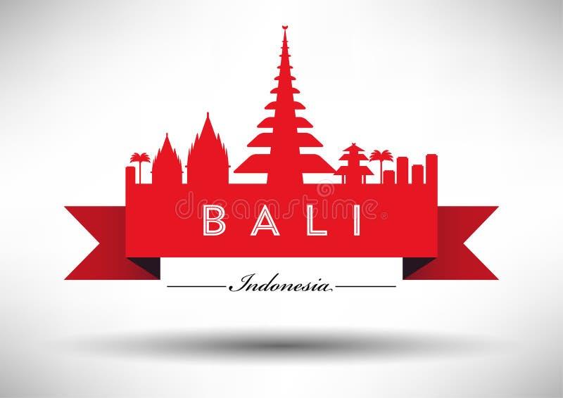 Bali Skyline with Typography Design royalty free illustration
