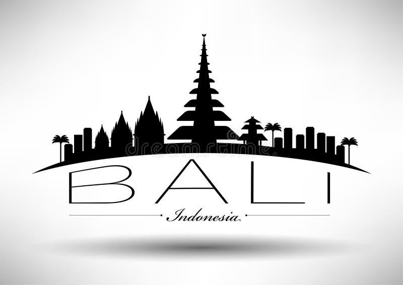Bali Skyline with Typography Design vector illustration