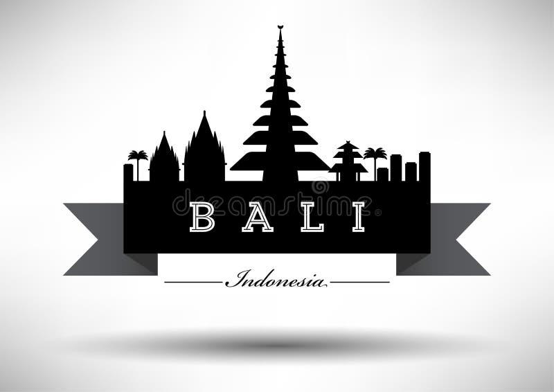 Bali Skyline with Typography Design stock illustration