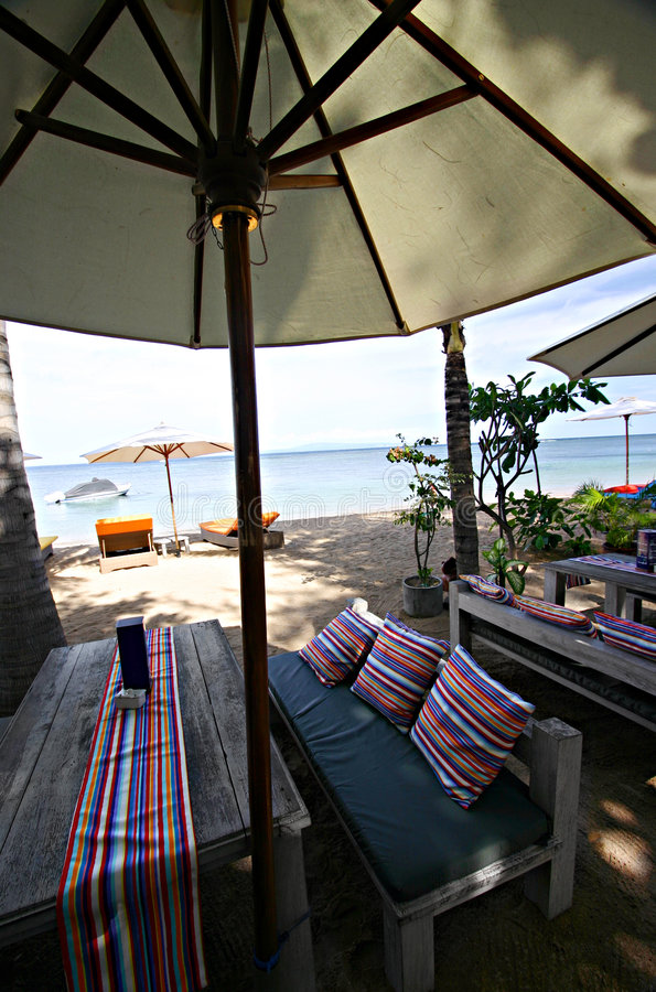 bali strandcafe royaltyfria foton