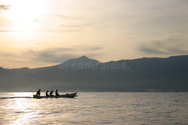 Bali sunrise @ sea stock image