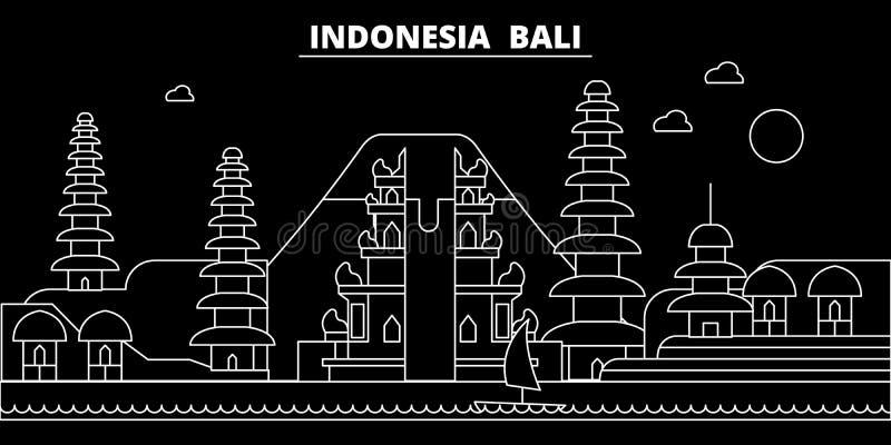 Bali sylwetki linia horyzontu Indonezja, Bali wektorowy miasto -, indonezyjska liniowa architektura, budynki Bali podróż ilustracji
