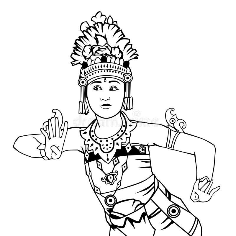 Bali-Tänzerlinie Kunstillustration lizenzfreie abbildung