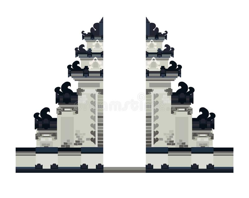 Bali temple entrance vector illustration. National landscape, gate in Bali, Indonesi. A. Ethnic historical building isolated on white background royalty free illustration