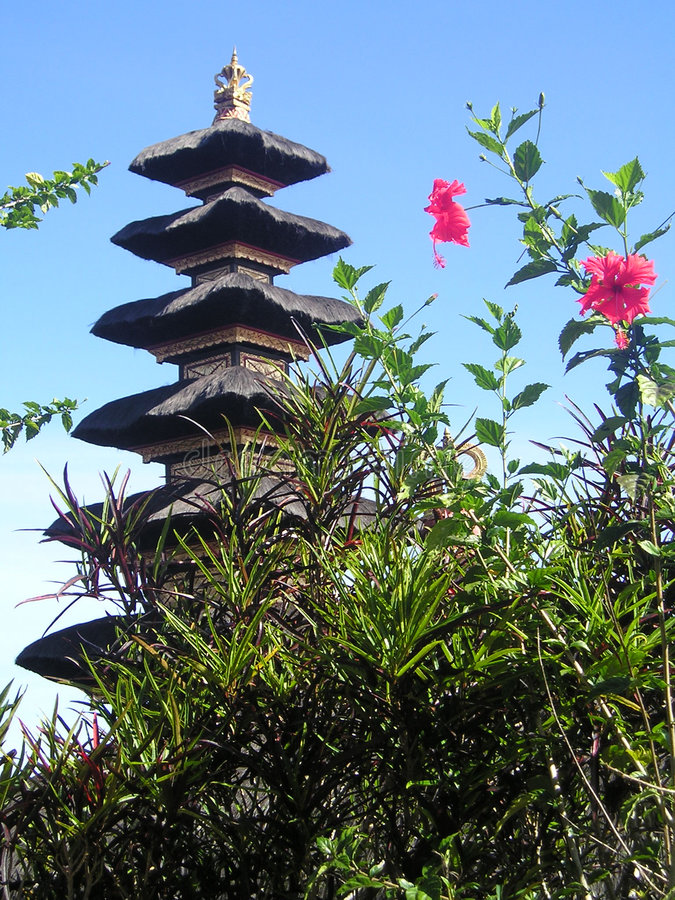 Bali Temple with pink flowers royalty free stock images