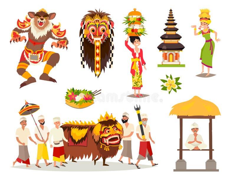 Bali tradycyjnych kulturalnych pojęć ilustraci wektorowy set ilustracja wektor