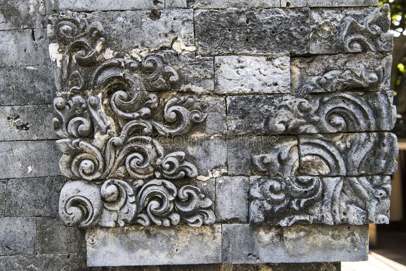 Balinese traditional carved stone ornament royalty free stock images