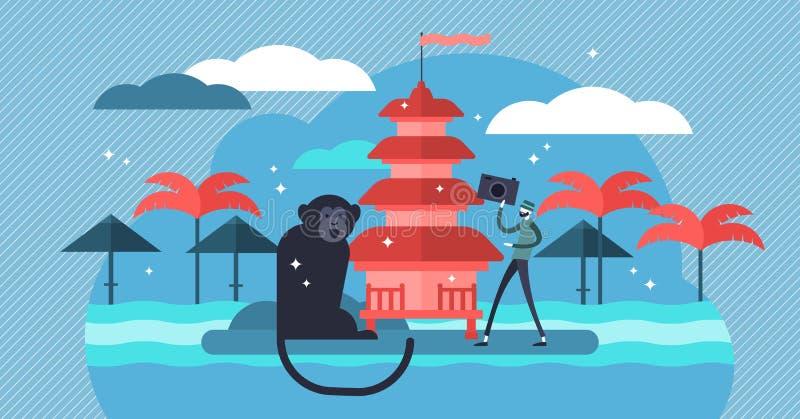 Bali vector illustration. Flat mini tourist person concept in exotic travel stock illustration