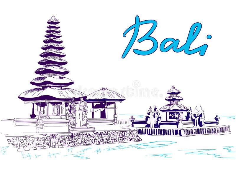Bali VECTOR sketch, blue colors stock illustration