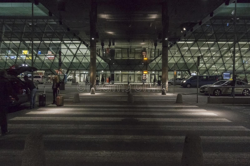 Balice Aiport at night stock photos
