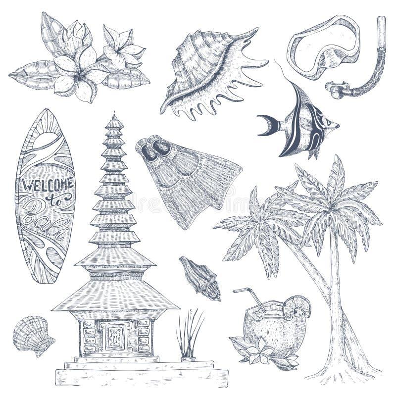 Balijczyków symbole Ustawiający ilustracji