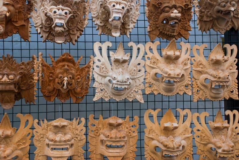 Balijczyka rynek drewnianego maskujący bali Indonesia obraz royalty free