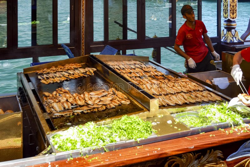 "Balik ekmek meaning ""fish sandwich"" a popular Turkish street stock photo"
