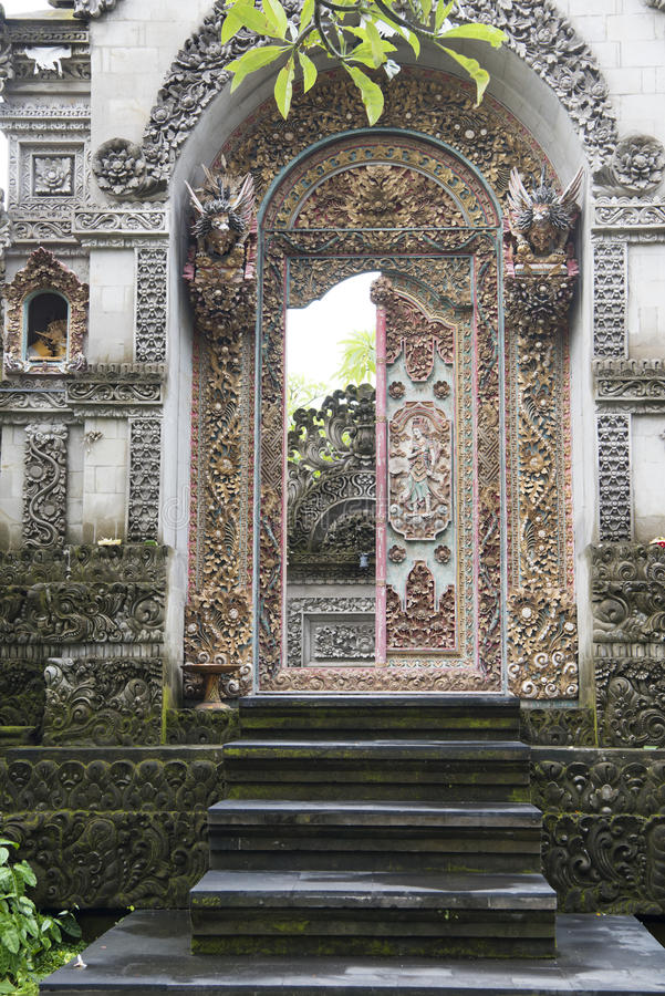 Balinese richly decorated door stock photography