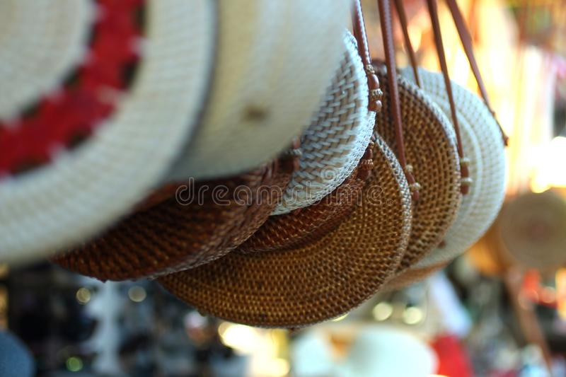 Balinese bags and souvenirs royalty free stock photos