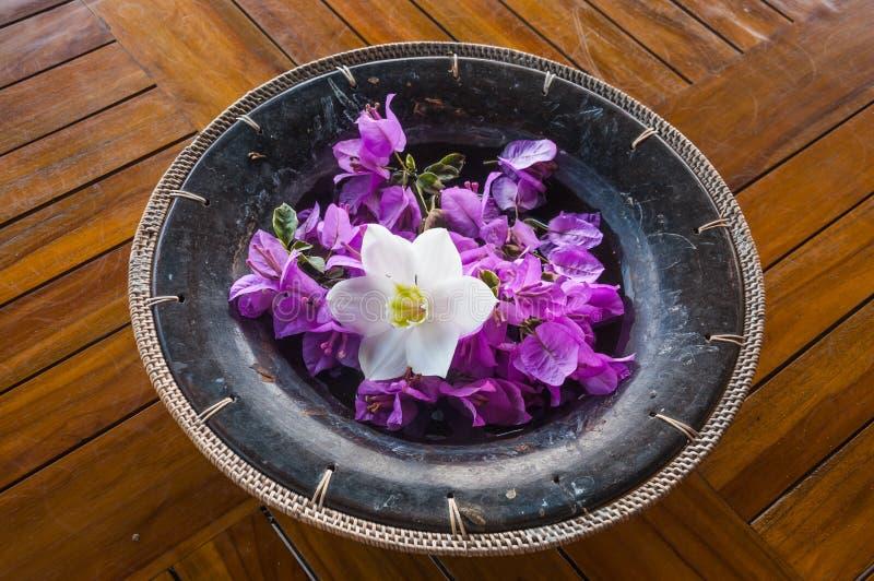 Balinese bloemdecoratie met purpere en witte bloemen stock foto