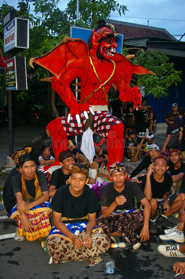 Balinese boys and a monster