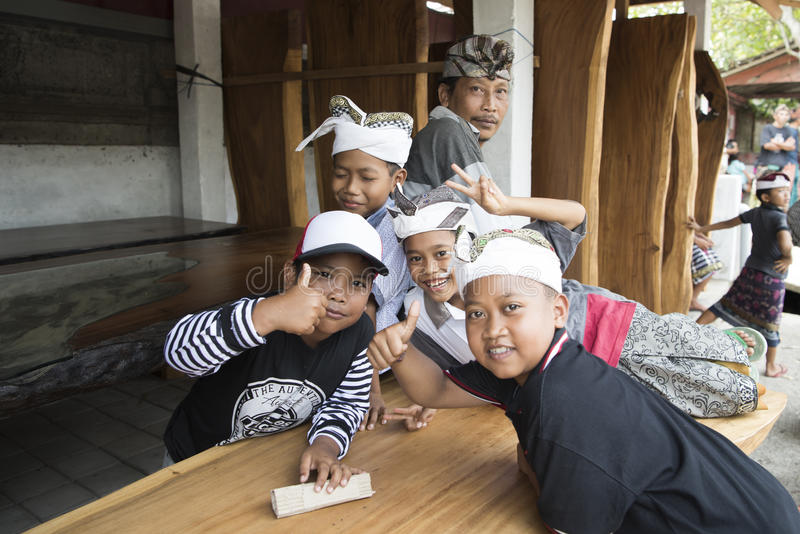 Balinese children thumbs up royalty free stock image