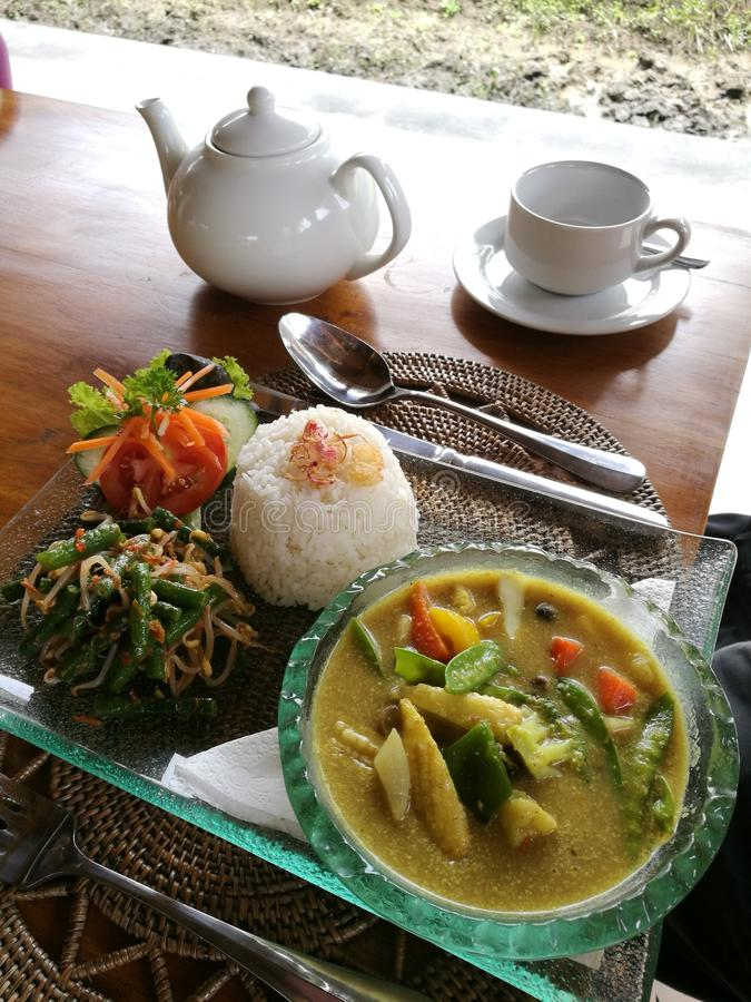 Balinese cuisine vegetables curry with rice stock photo