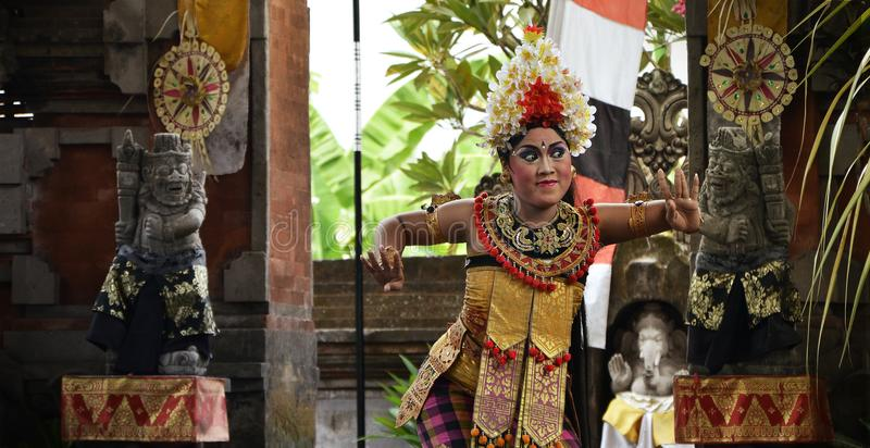 Balinese Dancer Dancing on Stage royalty free stock photography