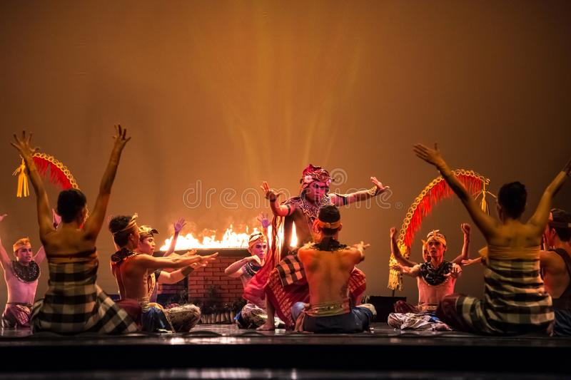 Balinese dancers in traditional costume performing on stage in the dance performance on Devian show. Nusa Dua, Bali stock image
