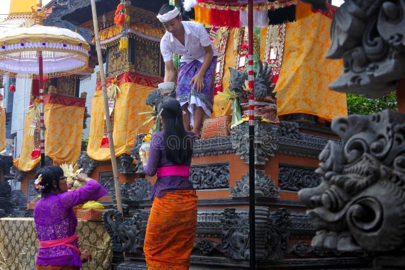 Balinese family celebrating Galungan Kuningan holidays in Bali Indonesia stock images