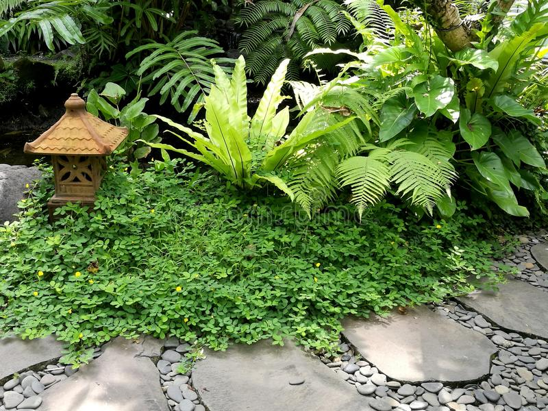 Balinese garden ornament and stone path stock photos