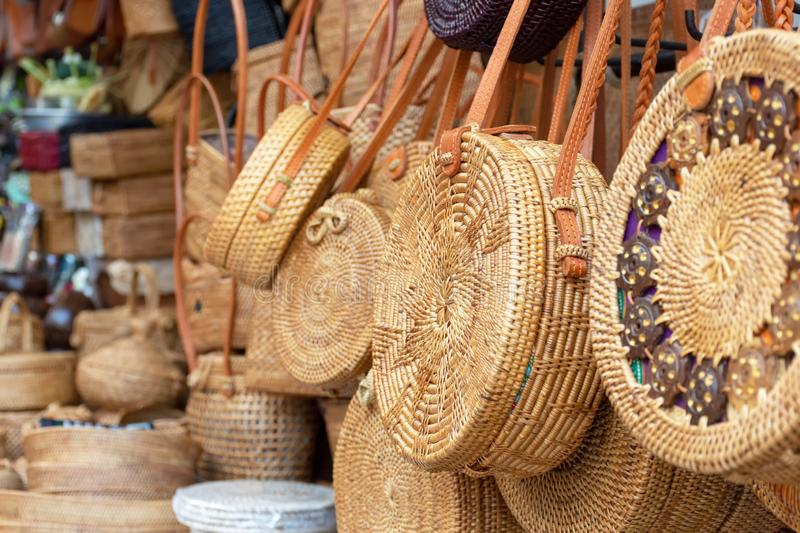 Balinese handmade rattan eco bags royalty free stock images
