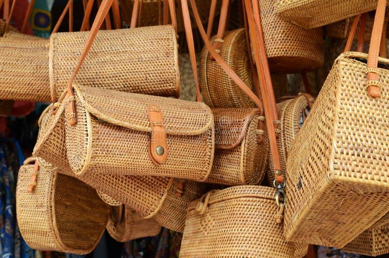 Balinese handmade rattan eco bags in a local souvenir market royalty free stock photos