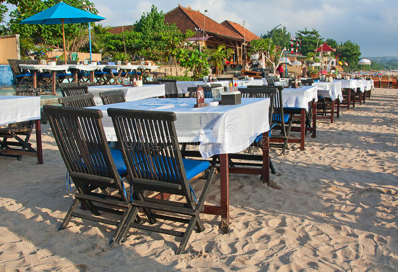 Balinese Jimbaran beach. Famous for it's perfect sea food restaurants royalty free stock photo