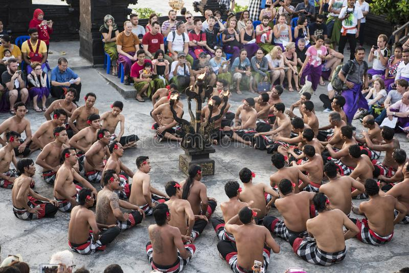 Traditional Dance Bali, Balinese Kecak dance at Uluwatu temple, Bali, Indonesia royalty free stock photos