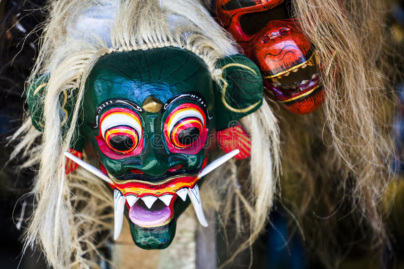 Balinese mask. Traditional Balinese mask at Besakih temple, Bali, Indonesia royalty free stock photos