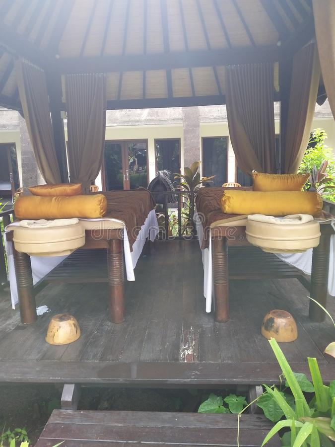 Balinese massagehut stock foto's