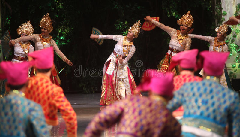 BALINESE TRADITIONAL DANCE. Dancers performs bali traditional dance Barong and Kris Dance at Solo, Indonesia royalty free stock images