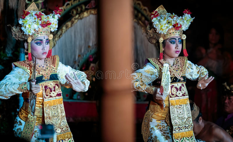 Balinese traditional dance Legong. Traditional Legong dance of Ramayana in Ubud, Bali, Indonesia. Balinese dances derive from a very ancient dance tradition that stock image