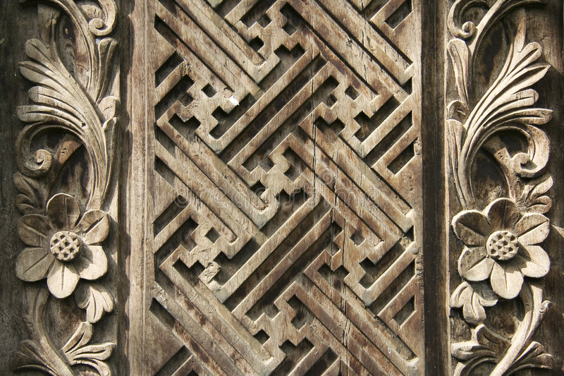 Download Ornate Balinese Wood Carving Design Background Stock Photo - Image: 5381696
