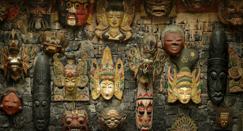 Balinese Wooden Masks royalty free stock photography