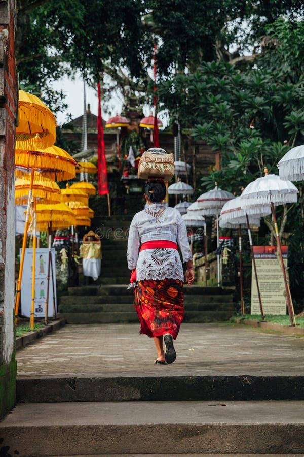 Balinesefrau, die zeremoniellen Kasten mit Angeboten auf ihrem Kopf, Ubud trägt lizenzfreies stockfoto
