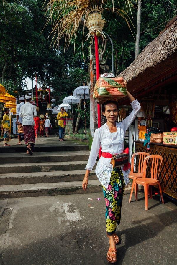 Balinesefrau, die zeremoniellen Kasten mit Angeboten, Ubud, Bali trägt stockfoto