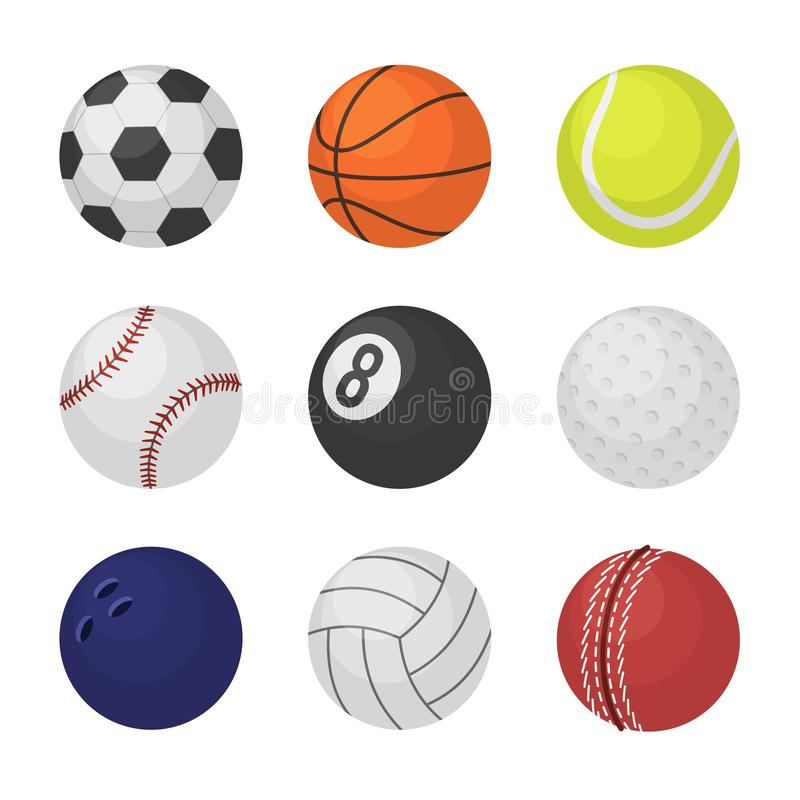 Balinzameling Van de de ballenvoetbal van het sportuitrustingspel van het het basketbaltennis de veenmolbiljart dat volleyballsym vector illustratie