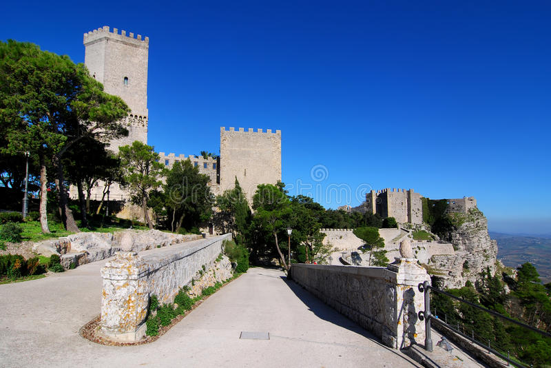 Balio towers and Norman castle in Erice, Sicily stock image