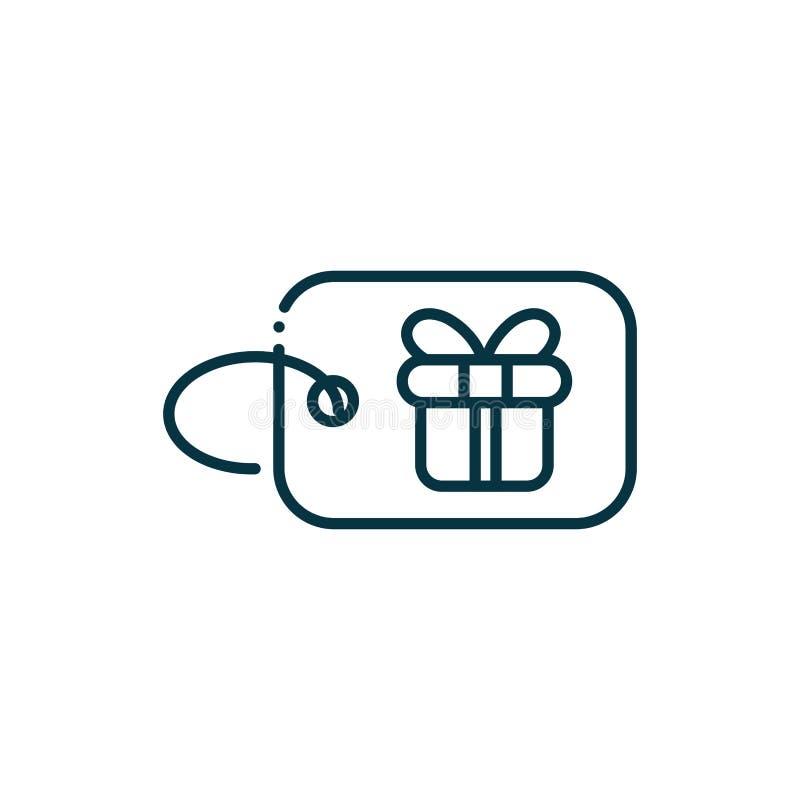 Balise boîte cadeau joyeuse icône de ligne de Noël illustration stock