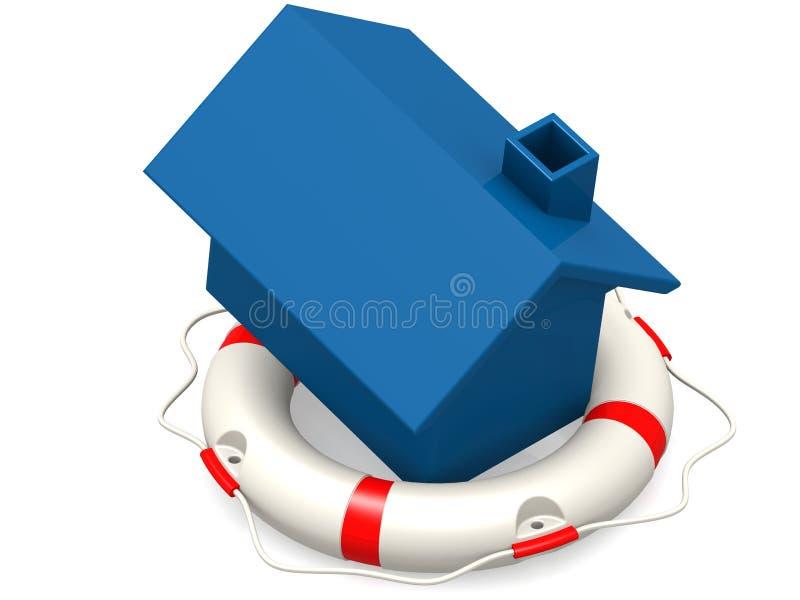 Balise de vie avec la maison bleue illustration stock