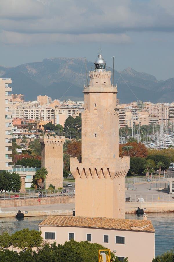 Balise et tour antiques Palma de Majorca, Espagne photos stock