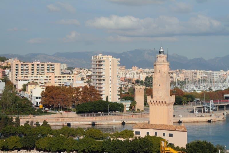 Balise et ville de tour Palma de Majorca, Espagne photos libres de droits